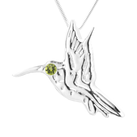 Sterling Silver Peridot Hummingbird Pendant Necklace 18L