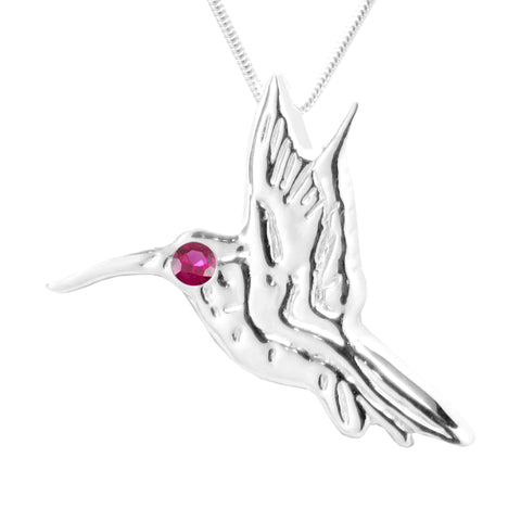 Sterling Silver Ruby Hummingbird Pendant Necklace 18L