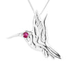 Sterling Silver Ruby Hummingbird Pendant Necklace 18L - Michele Benjamin - Jewelry Design