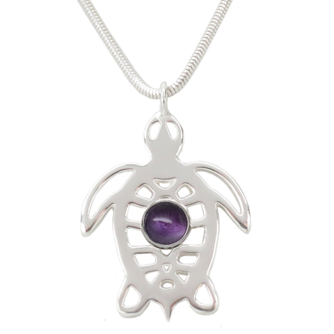 Sterling Silver Amethyst Sea Turtle Tortoise Necklace