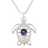 Sterling Silver Amethyst Sea Turtle Tortoise Necklace - Michele Benjamin - Jewelry Design
