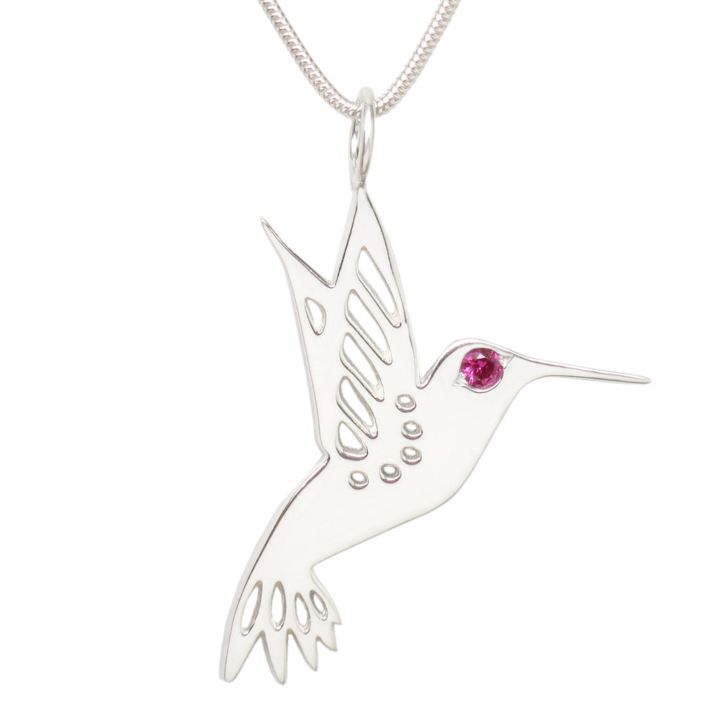 Sterling Silver Ruby Hummingbird Pendant Necklace - Michele Benjamin - Jewelry Design