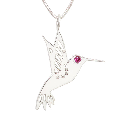 Sterling Silver Ruby Hummingbird Pendant Necklace