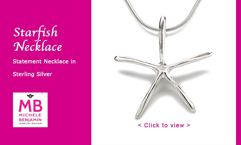 Sterling Silver Starfish Pendant Necklace Artistically Unique Sculptural Handcrafted