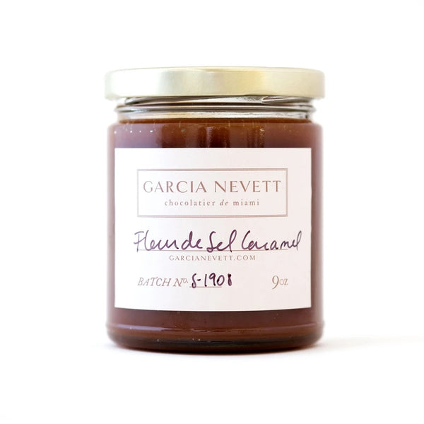 garcia nevett fleur de sel caramel sauce with gold like in white background