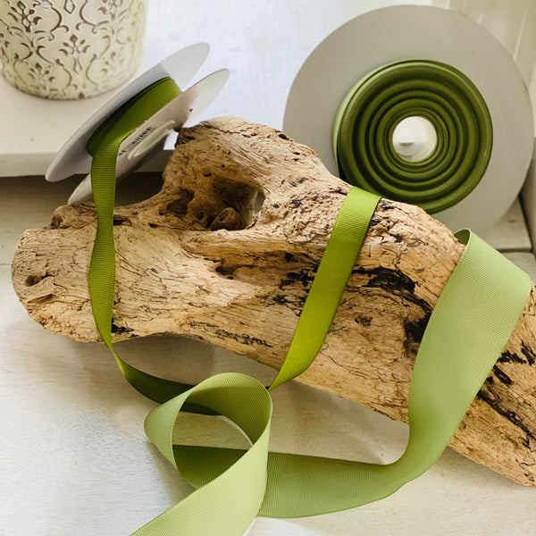 photo of driftwood with green ribbon