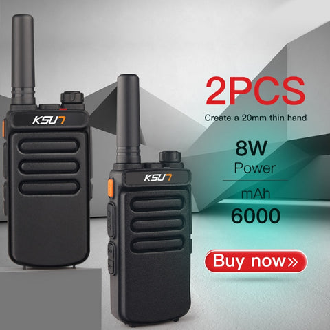 2 Handheld UHF Walkie Talkie Portable Radios with HF Transceiver