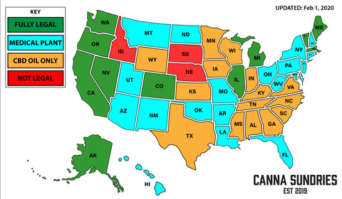 US States cannabis recreational use CannaSundries