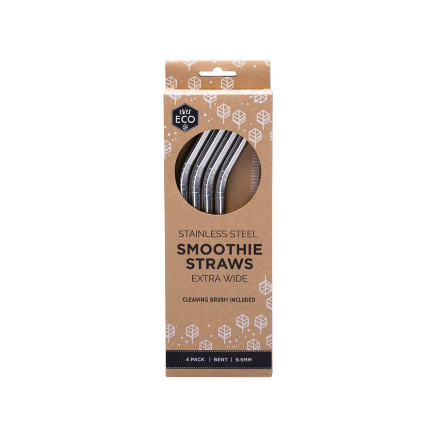 Ever Eco Stainless Steel Smoothie Straws Bent - 4 Pack