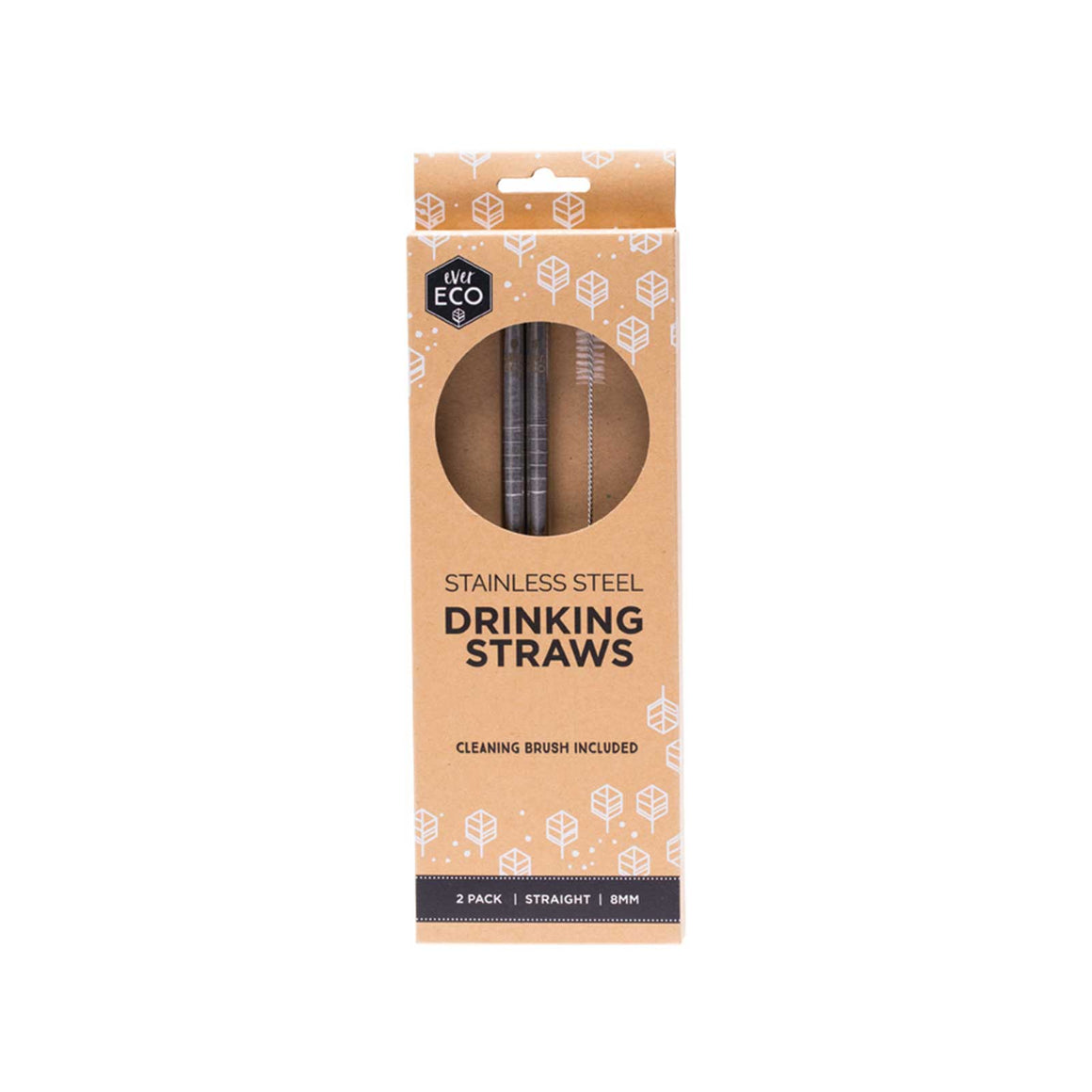 Ever Eco Stainless Steel Straws Stainless Straight - 2 Pack