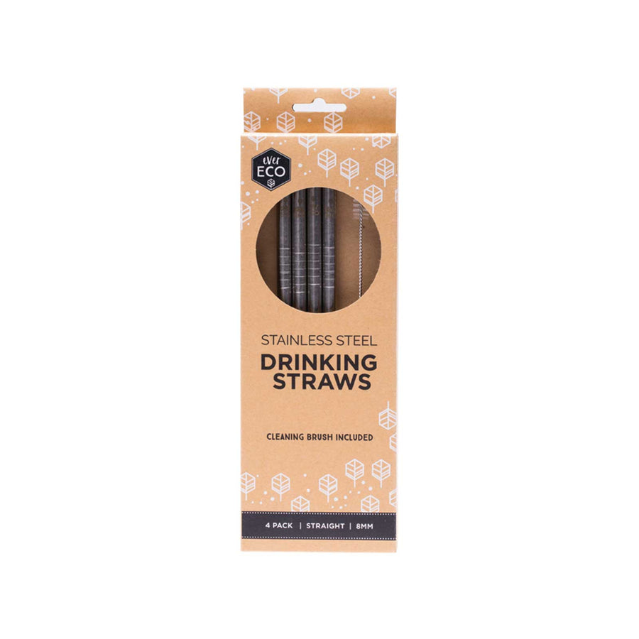 Ever Eco Stainless Steel Straws Stainless Straight - 4 Pack