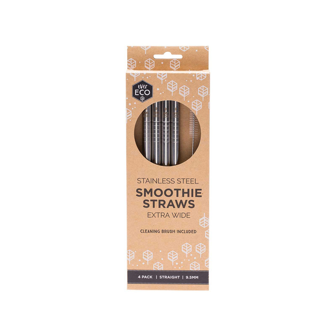 Ever Eco Stainless Steel Smoothie Straws Straight - 4 Pack