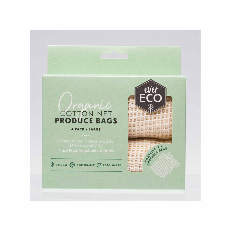 Ever Eco Organic Cotton Net Produce Bags - 4 Pack