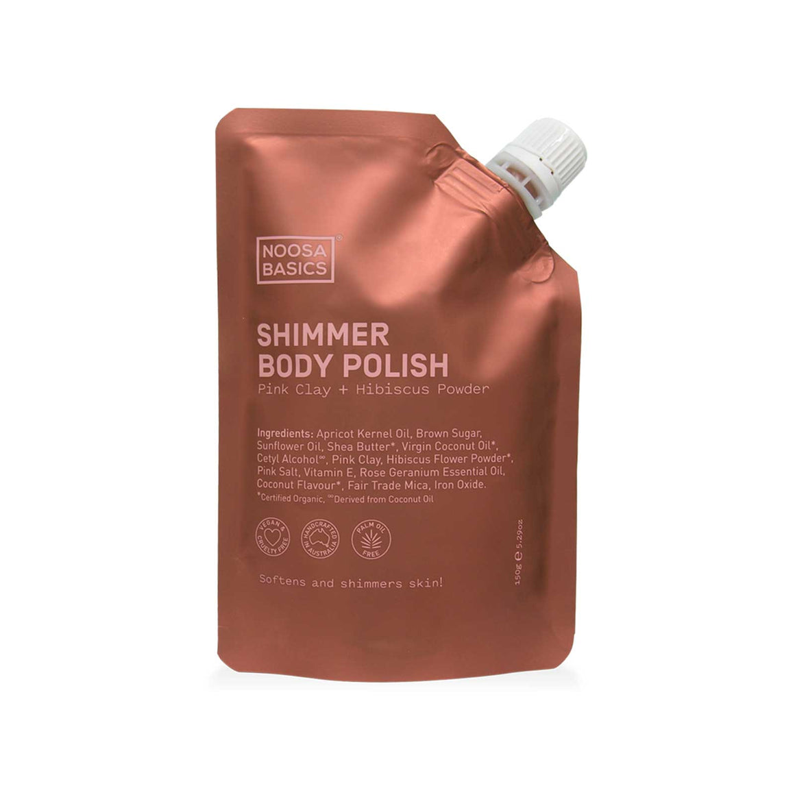 Noosa Basics SHIMMER BODY POLISH Pink Clay + Hibiscus Powder