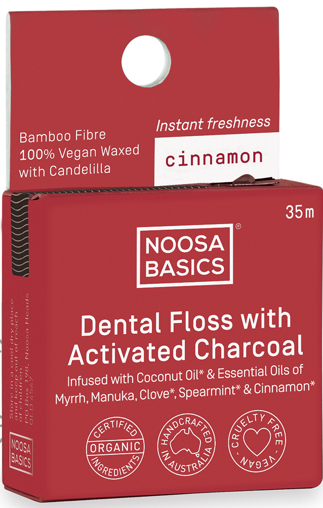 Noosa Basics Dental Floss Active Charcoal Cinnamon- 35m