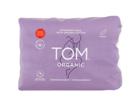 TOM Organic Pads Overnight - 8pk