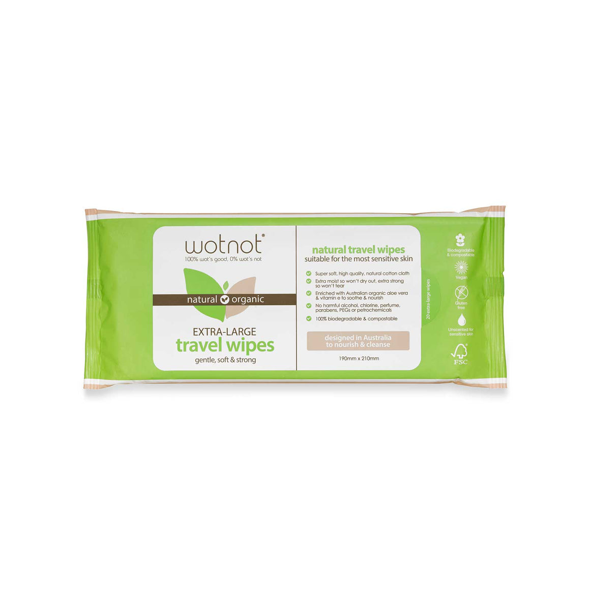 Wotnot Natural Travel Wipes - Soft Pack 20 sheets