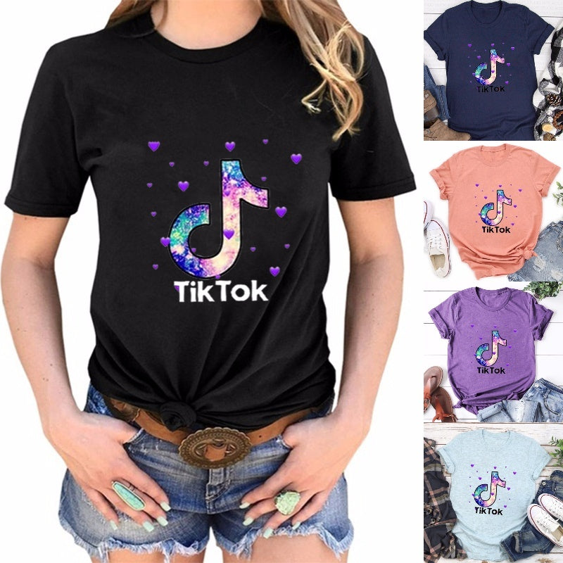 Red And Yellow Letter Logo: Tik Tok Letter Printed Short Sleeve T-Shirt Casual Men