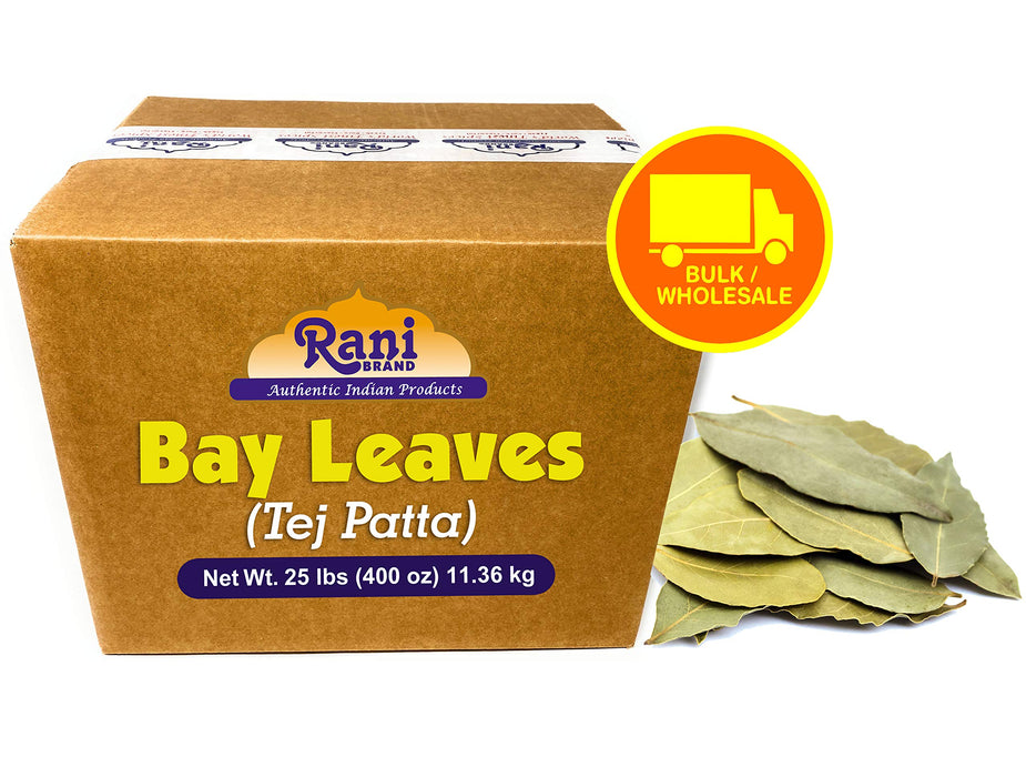 Rani Bay Whole Leaf (Leaves) Spice Hand Selected Extra Large 25-Pound (400 Ounce) 11.36kg ~ Bulk Box ~ All Natural ~ Gluten Free Ingredients | NON-GMO | Vegan | Indian Origin (Tej Patta)