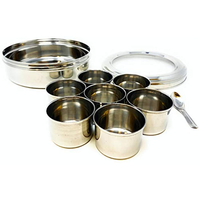 Rani Spice Box Stainless Steel Transparent Round Storage For Spices (Masala Dabba) 7 Compartments, with spoon, perfect for gifts! - Without Box Packing