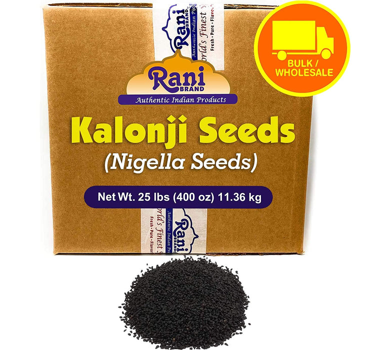 Rani Kalonji Seeds Whole (Black Seed, Nigella Sativa, Black Cumin) Spice 400 Ounce (25lbs) 11.36kg ~ Bulk Box, All Natural ~ Gluten Free Ingredients | NON-GMO | Vegan | Indian Origin