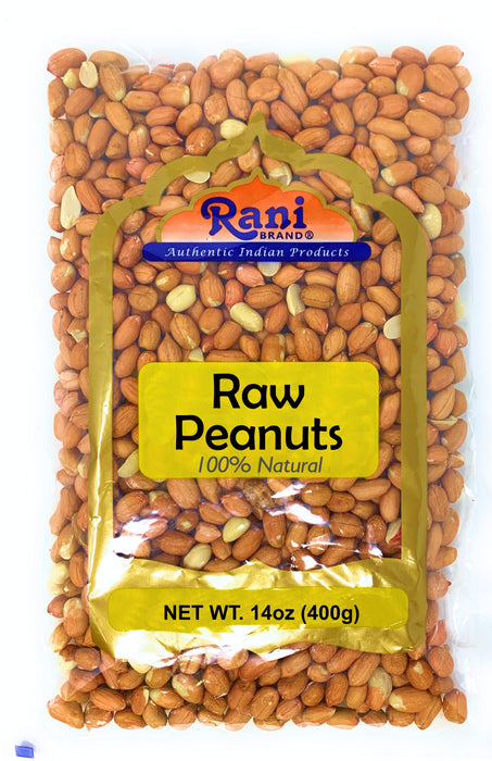 Rani Peanuts, Raw Whole With Skin (uncooked, unsalted) 14oz (400g) ~ All Natural | Vegan | Gluten Free Ingredients | Fresh Product of USA ~ Spanish Grade Groundnut / Red-skin