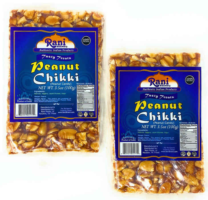 Rani Peanut Chikki (Brittle Candy) 100g (3.5oz) x Pack of 2 ~ All Natural | Vegan | No colors | Gluten Free Ingredients | Indian Origin