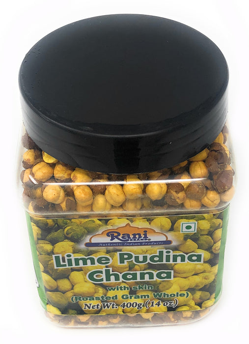 Rani Roasted Chana (Chickpeas) Lime Podina (Mint) 14oz (400g) ~ All Natural | Vegan | No Preservatives | No Colors Great Snack, Ready to Eat, Indian Origin