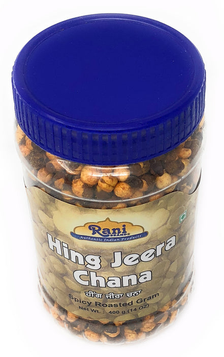 Rani Roasted Chana (Chickpeas) Hing-Jeera (Cumin-Asafetida) Flavor 14oz (400g) ~ All Natural | Vegan | No Preservatives | No Colors Great Snack, ready to eat, seasoned with 9 spices, Indian Origin