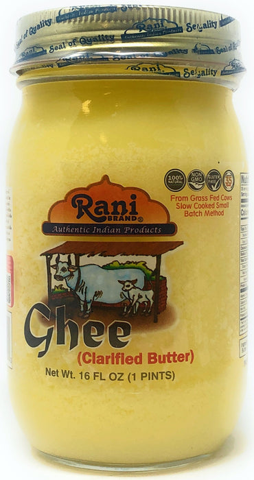 Rani Ghee Pure & Natural from Grass Fed Cows (Clarified Butter) 1lb (16oz) ~ Glass Jar | Paleo Friendly | Keto Friendly | Gluten Free | Product of USA