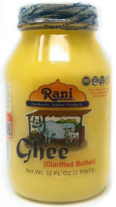 Rani Ghee Pure & Natural from Grass Fed Cows (Clarified Butter) 2lbs (32oz) ~ Glass Jar | Paleo Friendly | Keto Friendly | Gluten Free | Product of USA