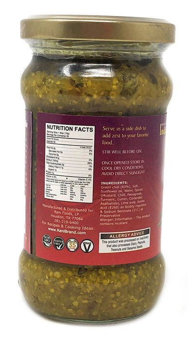 Rani Green Chilli Pickle Hot (Achar, Spicy Indian Relish) 10.5oz (300g) ~ Glass Jar, All Natural | Vegan | Gluten Free | NON-GMO | No Colors | Popular Indian Condiment, Indian Origin
