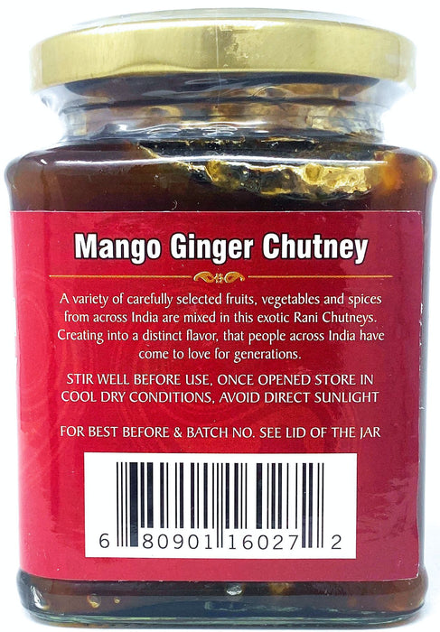 Rani Mango & Ginger Chutney (Indian Preserve) 10.5oz (300g) Glass Jar, Ready to eat, Vegan ~ Gluten Free Ingredients, All Natural, NON-GMO
