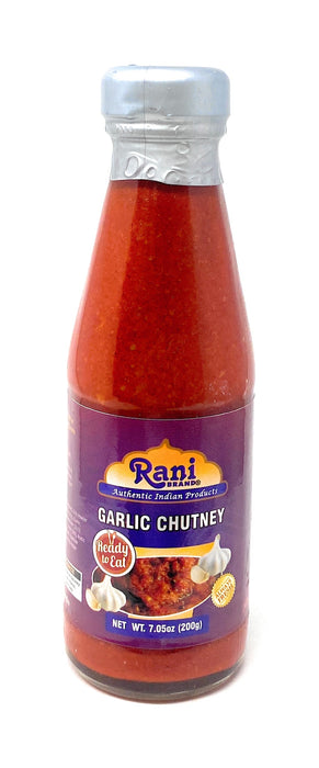 Rani Garlic Chutney 7oz (200g) Glass Jar, Vegan, Perfect for dipping, Savory Dishes & french fries! ~ Gluten Free | NON-GMO | No Colors | Indian Origin