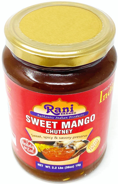 Rani Sweet Mango Chutney (Indian Preserve) 36oz (2.2lbs) 1kg ~ Value Pack, Glass Jar, Ready to eat, Vegan ~ Gluten Free Ingredients, All Natural, NON-GMO