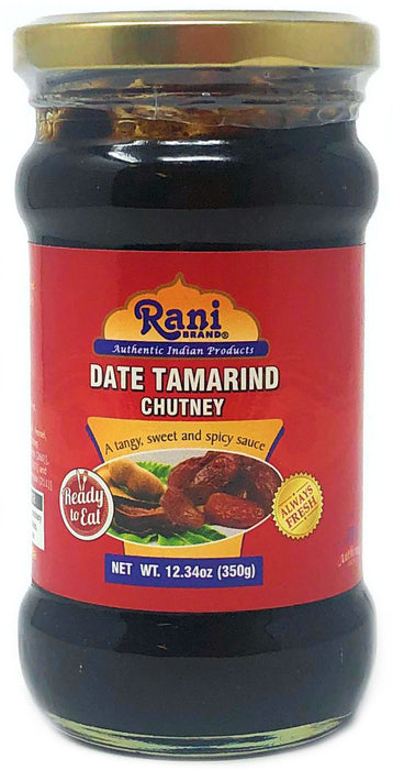 Rani Dates & Tamarind (Imli) Chutney Glass Jar, Ready to eat 12.34oz (350g) Vegan ~ Gluten Free | NON-GMO | No Colors | Indian Origin