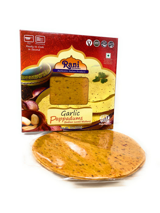 Rani Pappadums (Indian Lentil Wafer Snack) Garlic Papad 7 ounce (200g) Approximately 15pc, 7 inches ~ All Natural, Gluten Free | NON-GMO | Vegan | Indian Origin