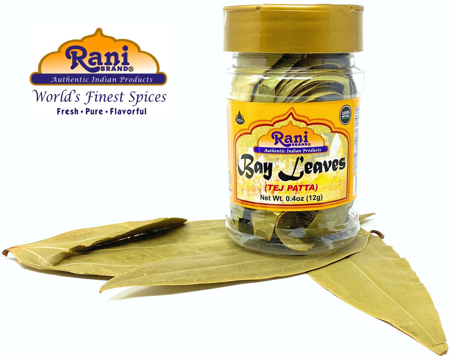 Rani Bay Leaf (Leaves) Whole Spice Hand Selected Extra Large 12g (0.4oz) PET Jar, All Natural ~ Gluten Free Ingredients | NON-GMO | Vegan | Indian Origin (Tej Patta)