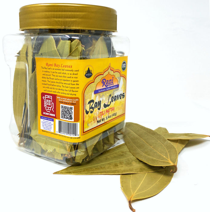 Rani Bay Leaf (Leaves) Whole Spice Hand Selected Extra Large 40g (1.4oz) PET Jar, All Natural ~ Gluten Free Ingredients | NON-GMO | Vegan | Indian Origin (Tej Patta)