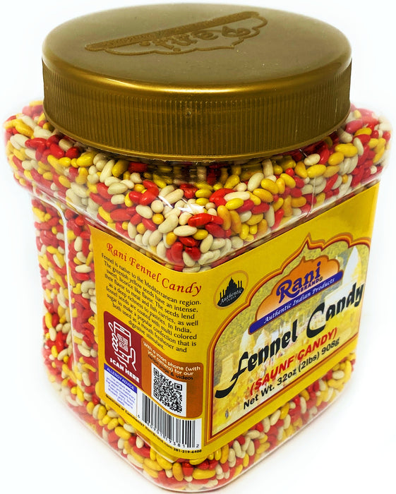 Rani Sugar Coated Fennel Candy 2lbs (32oz) 908g Bulk, PET Jar ~ Indian After Meal Digestive Treat | Vegan