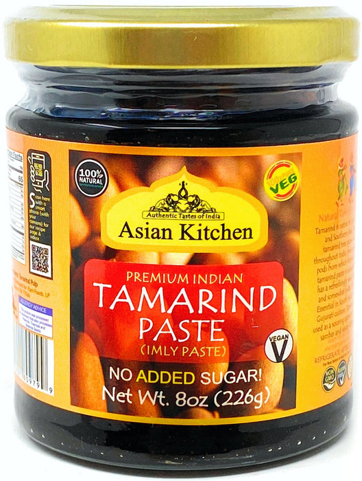 Asian Kitchen Tamarind Paste Puree (Imli) 8oz (227g) Glass Jar, Gluten Free, No added sugar ~ All Natural | Vegan | NON-GMO | No Colors | Indian Origin