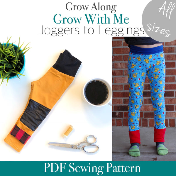 ALL SIZES Grow Along Pants (Joggers to leggings)- PDF Apple Tree Sewing Pattern