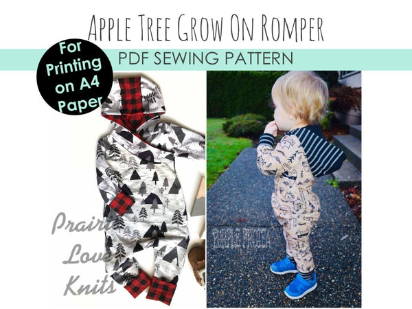 Little Kids Grow On Coverall Style Romper A4 SIZED PAPER - PDF Apple Tree Sewing Pattern