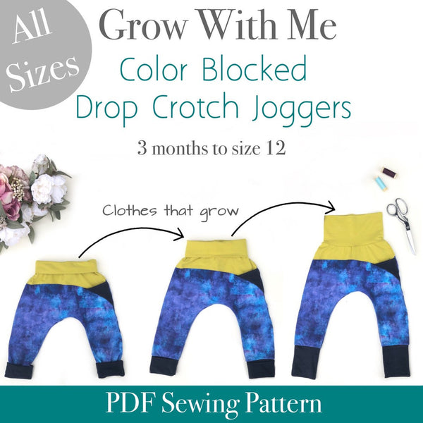 Color Blocked Grow With Me Drop Crotch Pants Joggers Trousers - All Sizes
