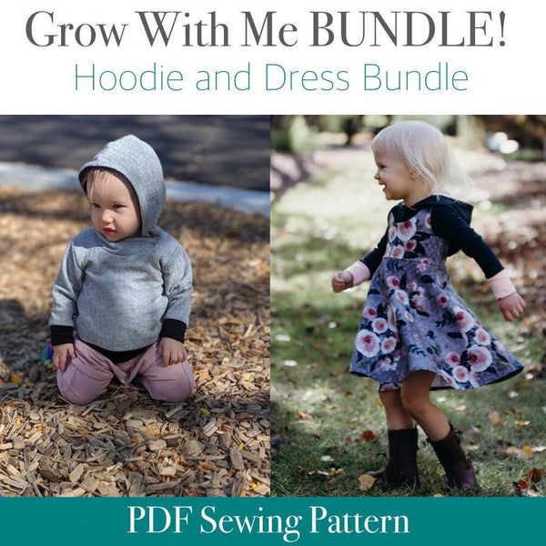 All Sizes Hooded Dress and Color Blocked Hoodie BUNDLE - PDF Apple Tree Sewing Patterns