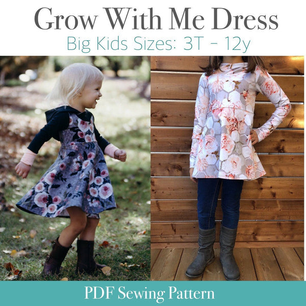 Hooded Dress Grow With Me Dress - Big Kid Sizes