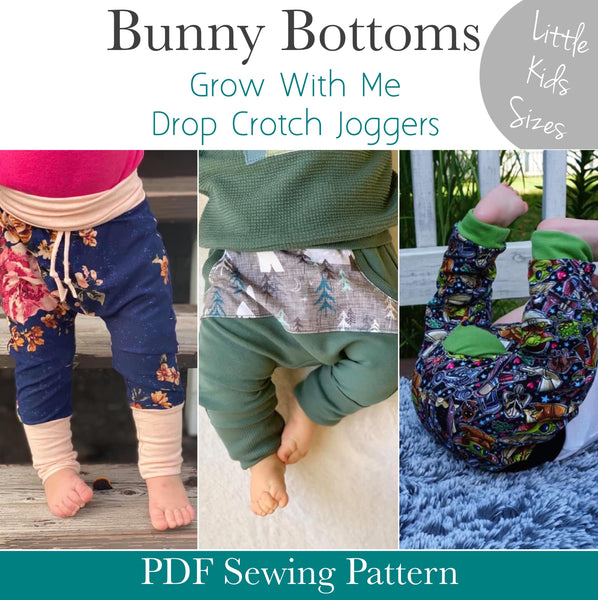 Little Kids Bunny Bottoms- Grow with Me Drop Crotch joggers - PDF Apple Tree Sewing Pattern
