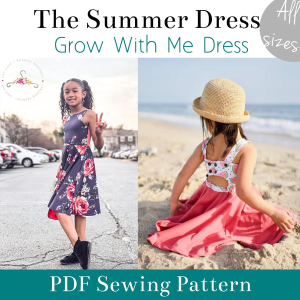The Summer Dress Cover photo showing two young girls modelling the dress front and back.