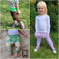 Little Kids Bunny Bottoms- Grow with Me Drop Crotch joggers