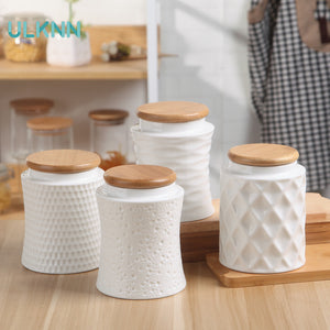 Ceramic Airtight Container Bamboo Cover